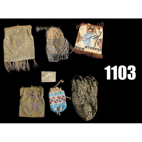 1103: Vintage Beaded and Mesh purses, lot of seven