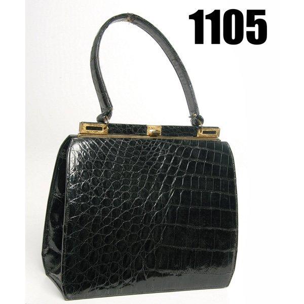 1105: Vintage Bellestone handbag, faux alligator skin