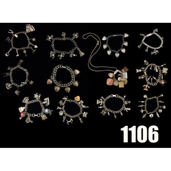 1106: Vintage Charm bracelets, lot of twelve, hearts, C