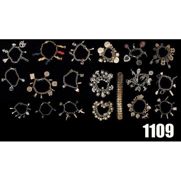 1109: Vintage Charm bracelets, lot of 19, all metal wit