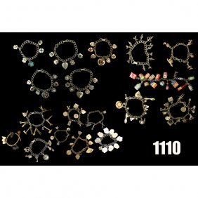 Vintage Charms Bracelets, Lot Of Eighteen, With V