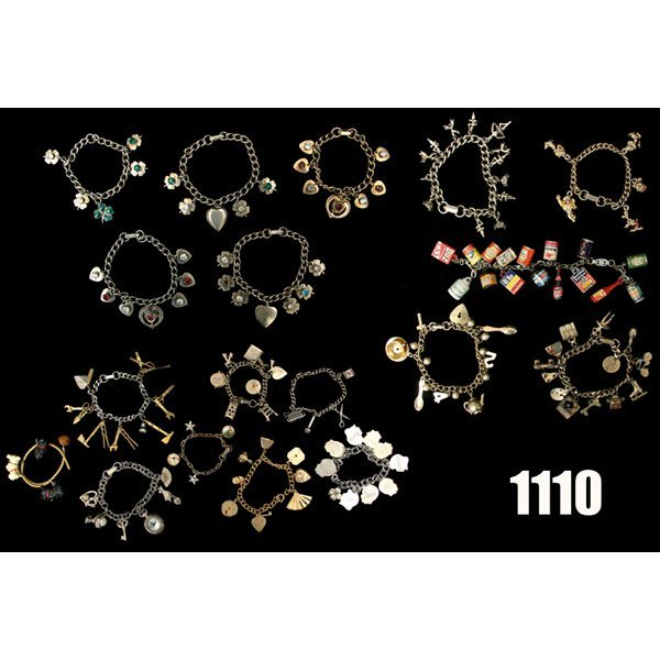 1110: Vintage Charms bracelets, lot of eighteen, with v