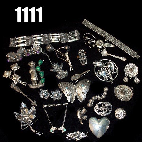 1111: Vintage Sterling pins, bracelets, many marked