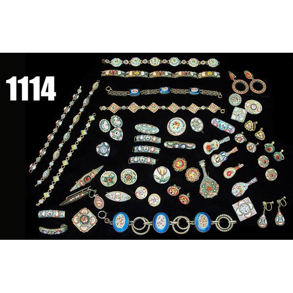 1114: Vintage Micro Mosaic jewelry, earrings, pins and