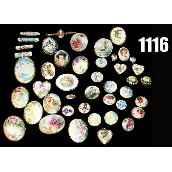 1116: Limoges hand painted pins; with Limoges buttons a