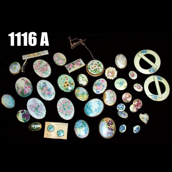 1116A: Vintage Limoges hand painted pins and buttons