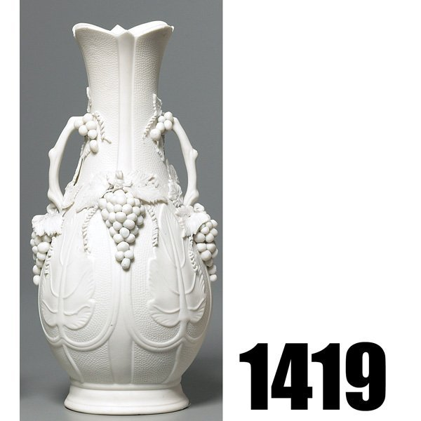1419: Parian Ware vase, double handled form