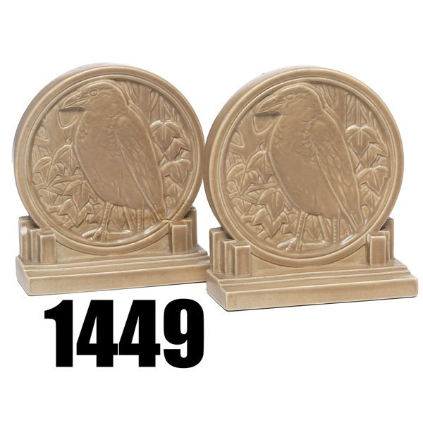 1449: Rookwood bookends, rooks covered in a tan matt gl