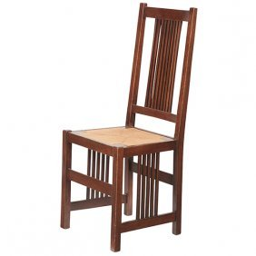"""Gustav Stickley Spindle Side Chair, #378 16.5""""w X 16""""d"""