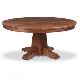 "Gustav Stickley Dining Table, #656 60""dia X 29.5""h;"