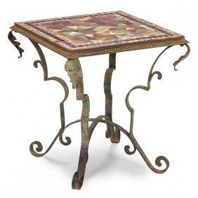 "Steuben Glass Works Tile-top Table 26""w X 19""d X 20.5""h"