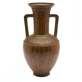 """Japanese Double-handled Vase 6""""dia X 11.5""""h"""
