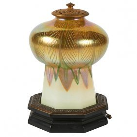 "Tiffany Studios Mosque Lamp Overall: 5.25""dia X 8""h"