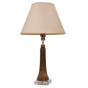 """Art Deco Style Sheaf Of Wheat Table Lamp 5.5""""sq X 26""""h"""