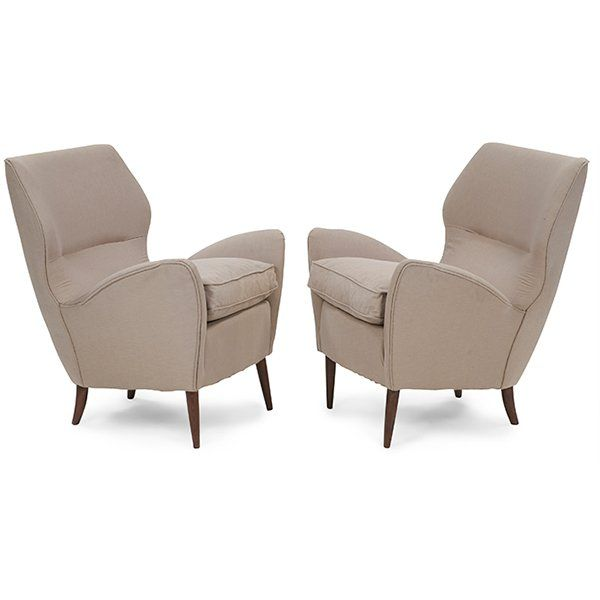 Italian, in the manner of Gio Ponti lounge chairs, pair