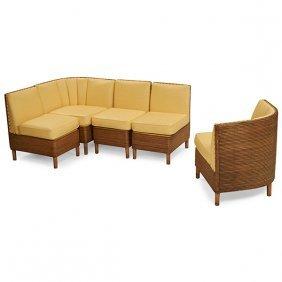 Mid-century Modern Sectional Sofa, Five Pieces Corner