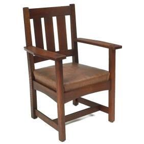 8: L & JG Stickley armchair, three vertical