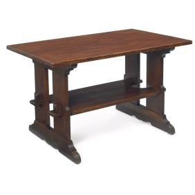 12: L & JG Stickley trestle table, #593