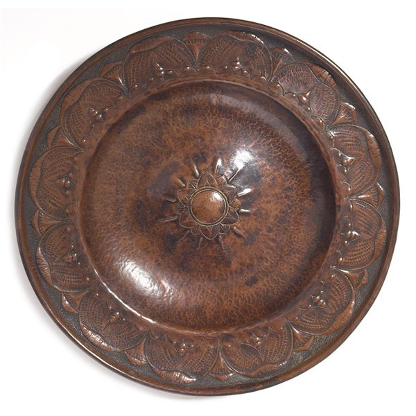 17: Arts & Crafts tray, hammered copper