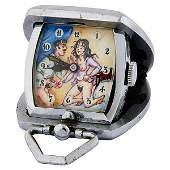 Erotic Boudoir Scene pocket travel clock with pendant