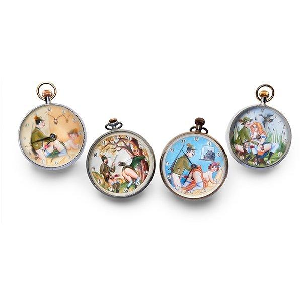 Erotic Hunting themed ball clocks, four