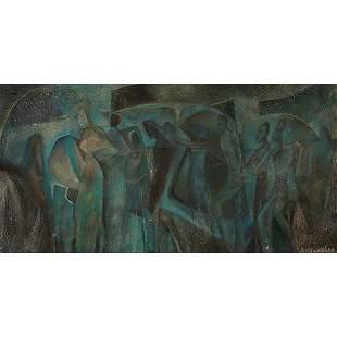 Aaron Douglas, (American, 1899-1979), Mural Study, oil