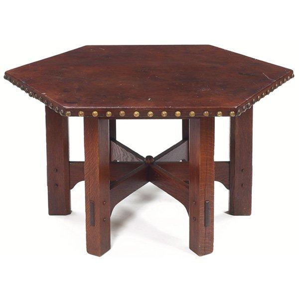 9: Gustav Stickley table, 624, hexagonal form