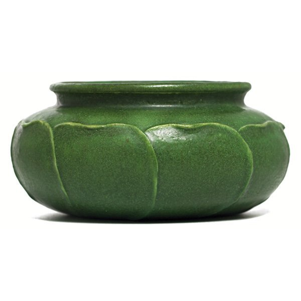 10: Nice Grueby vase, sculpted and applied leaves