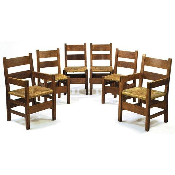 12: Gustav Stickley Thornden dining chairs, #1299, set