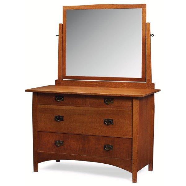 14: Gustav Stickley dresser with mirror, #911