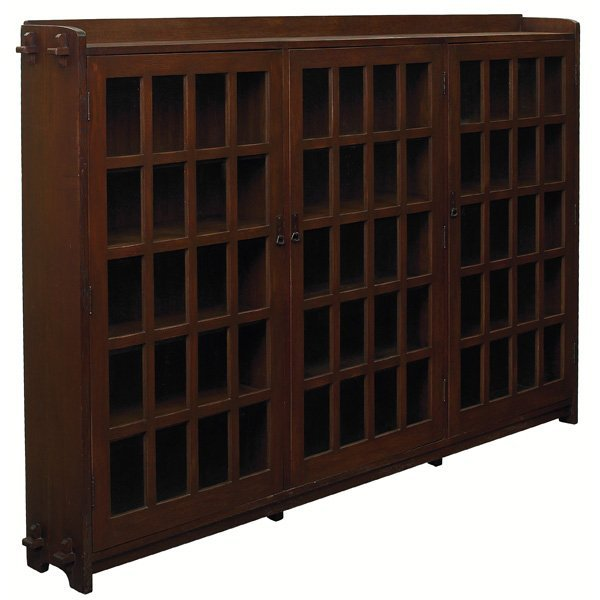 17: L & JG Stickley bookcase, massive three doo