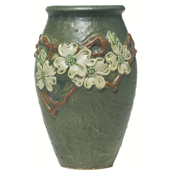 18: Roseville Dogwood vase, swollen shape in green