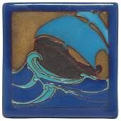 37 California Faience tile colorful ship design