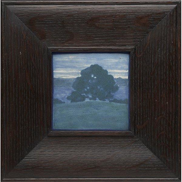 Marblehead Pottery, Lone Oak Tree Landscape tile,