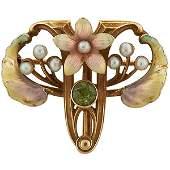 Whiteside & Blank, Art Nouveau foliate brooch /