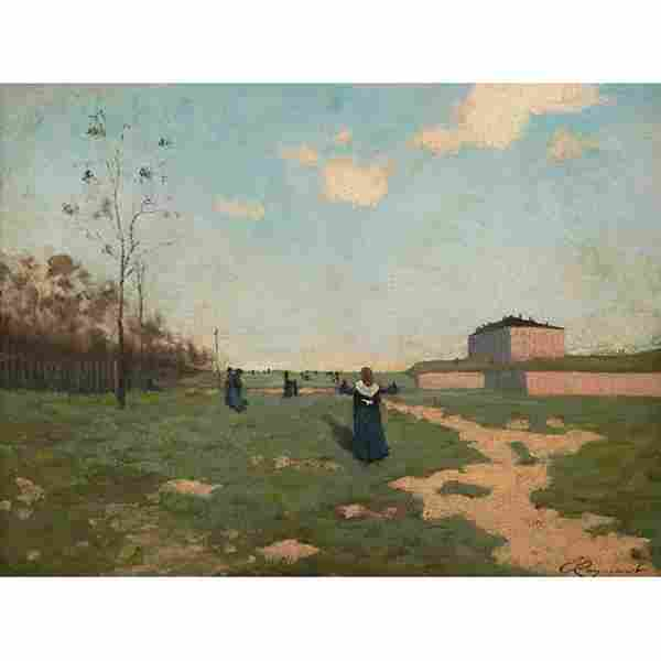Emile Cagniart, (French, 1851-1911), Nuns in a Field,