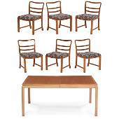 Edward Wormley for Dunbar dining table & 6 chairs