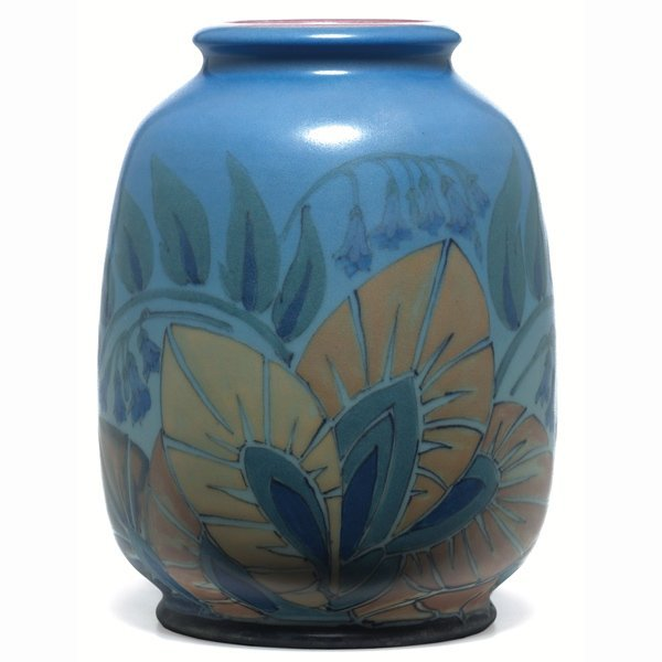 1501: Rookwood vase, Vellum glaze with a stylized flora