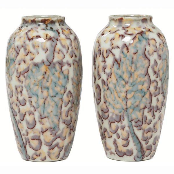 1504: Rookwood vases, pair, Porcelain glaze, Kay Ley