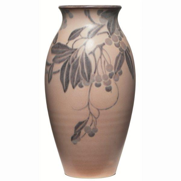 1511: Rookwood vase, swollen form, vellum, Lenore Asbur