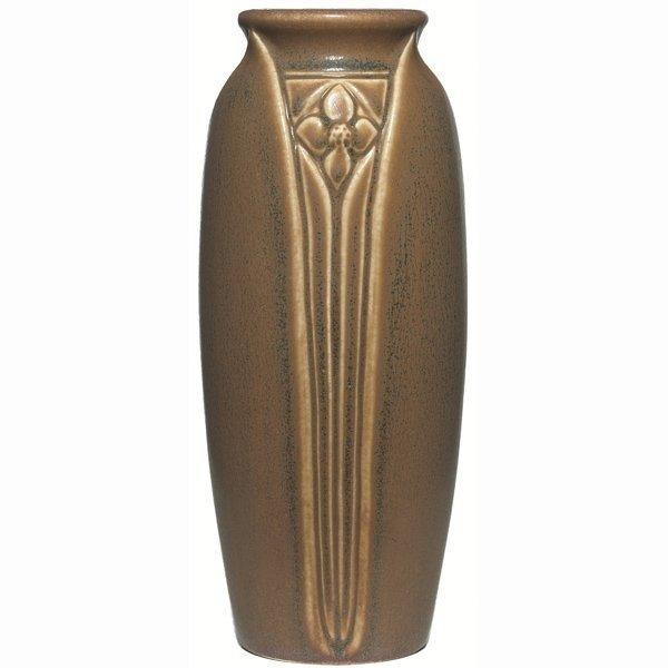 1519: Rookwood vase, brown and blue matt glaze