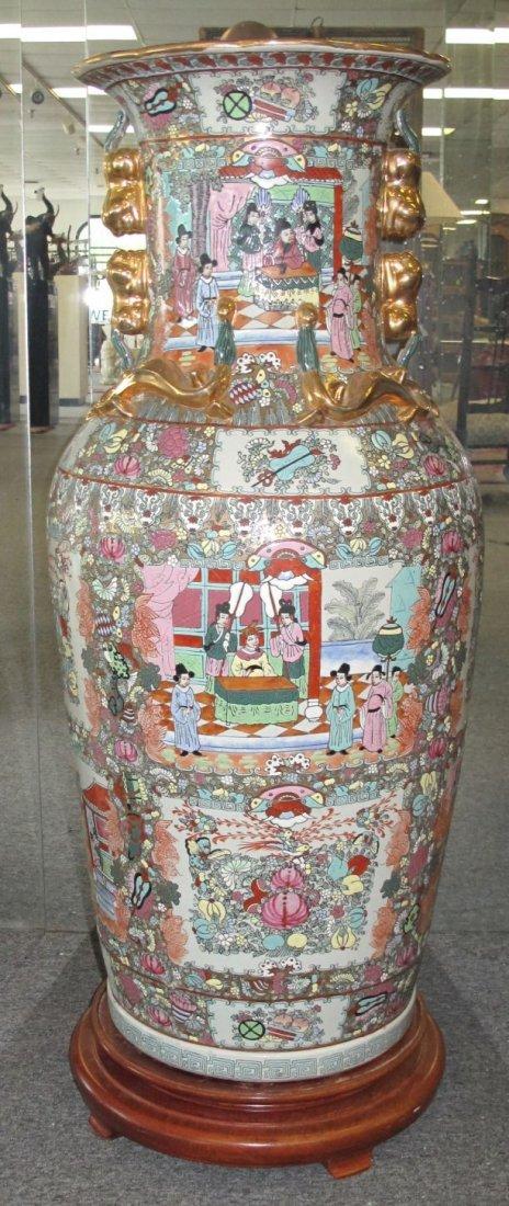 Vintage Oriental Famille Rose Style Floor Vase