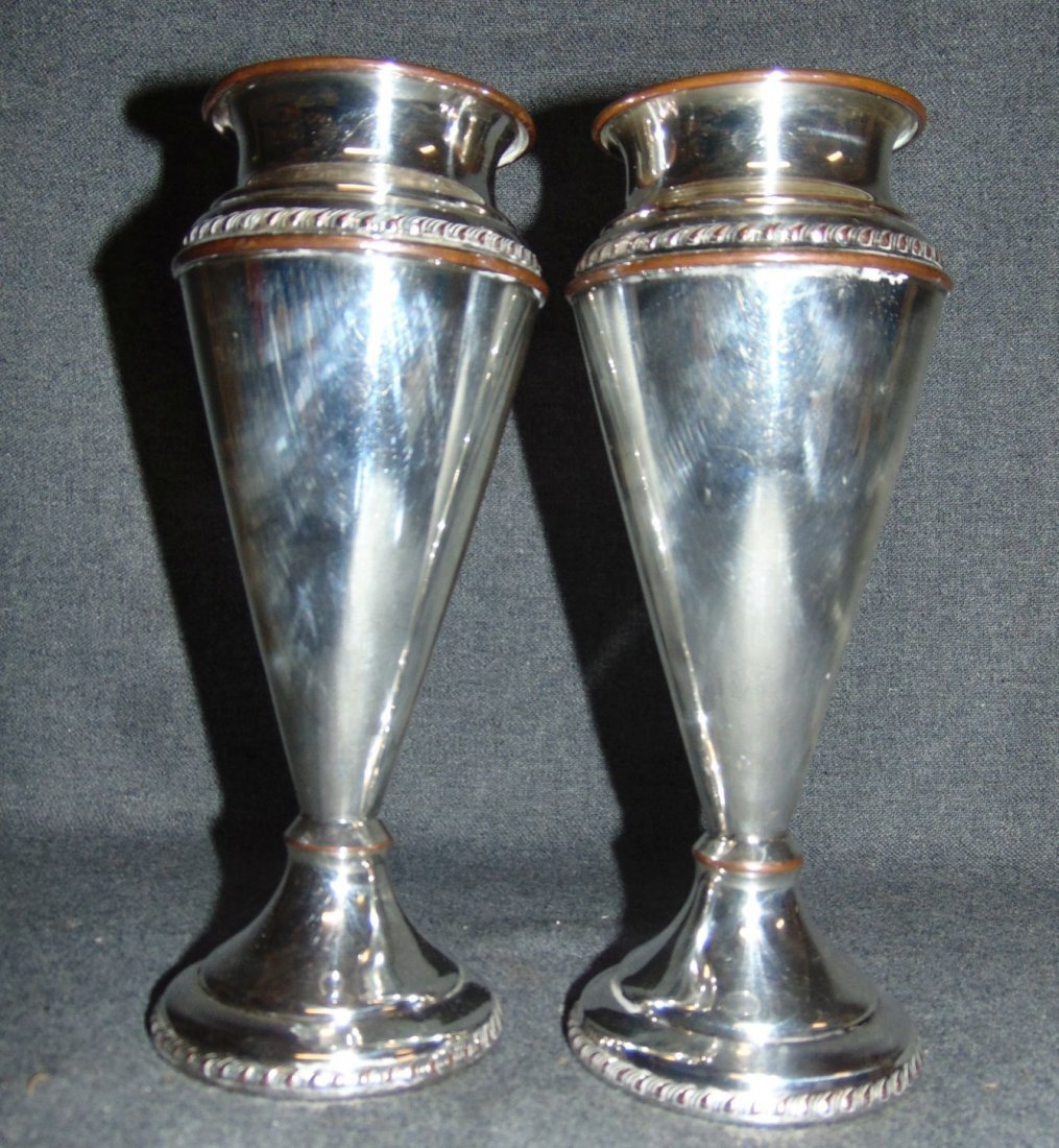 Vintage Pair (2) of Silvercraft Plated Vases