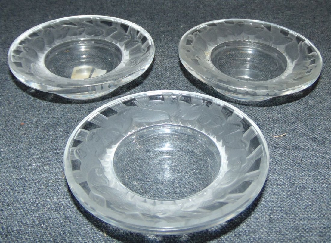 Set of 3 Lalique Crystal Irene Pin Dishes