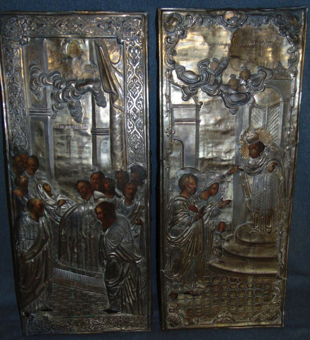 Pair (2) of Antique Carved 19th cent Russian Icons
