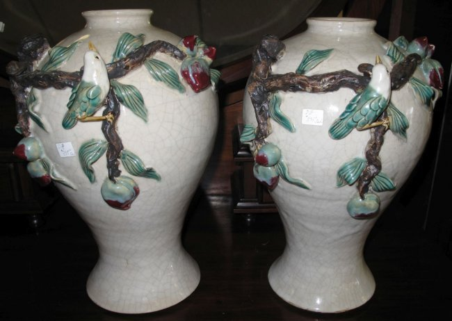 Pair (2) of Art Pottery Vases with Birds