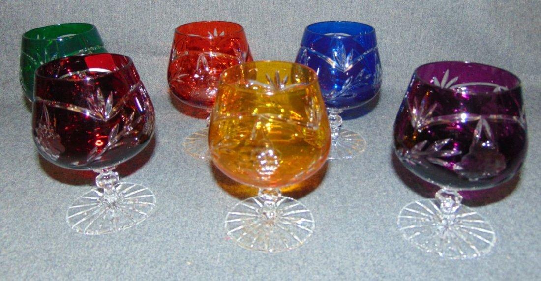Set of 6 Multi Color Cut Crystal Brandy Glasses