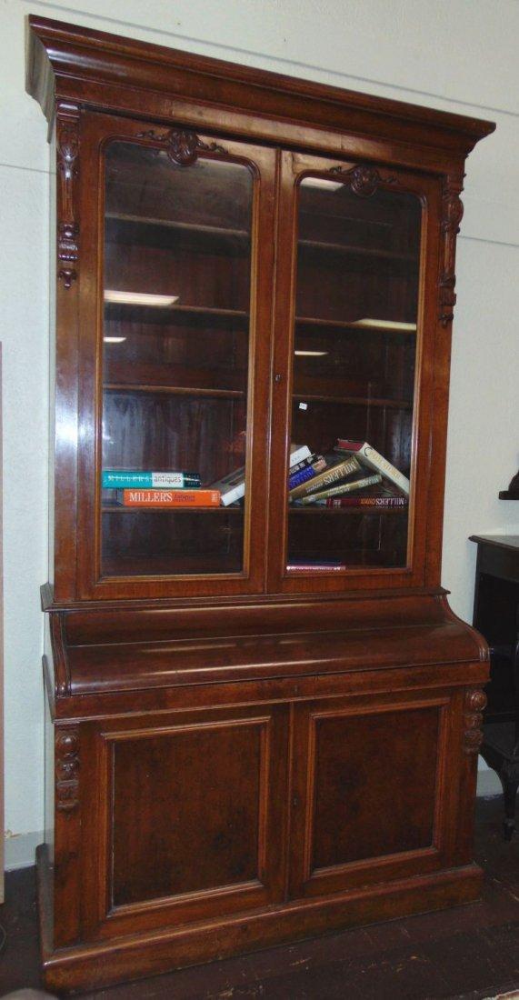 Antique English Mahogany Secretary Bookcase