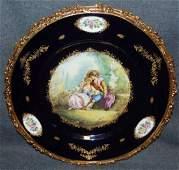 ACF Decor de Sevres Bronze & Cobalt Porcelain Charger