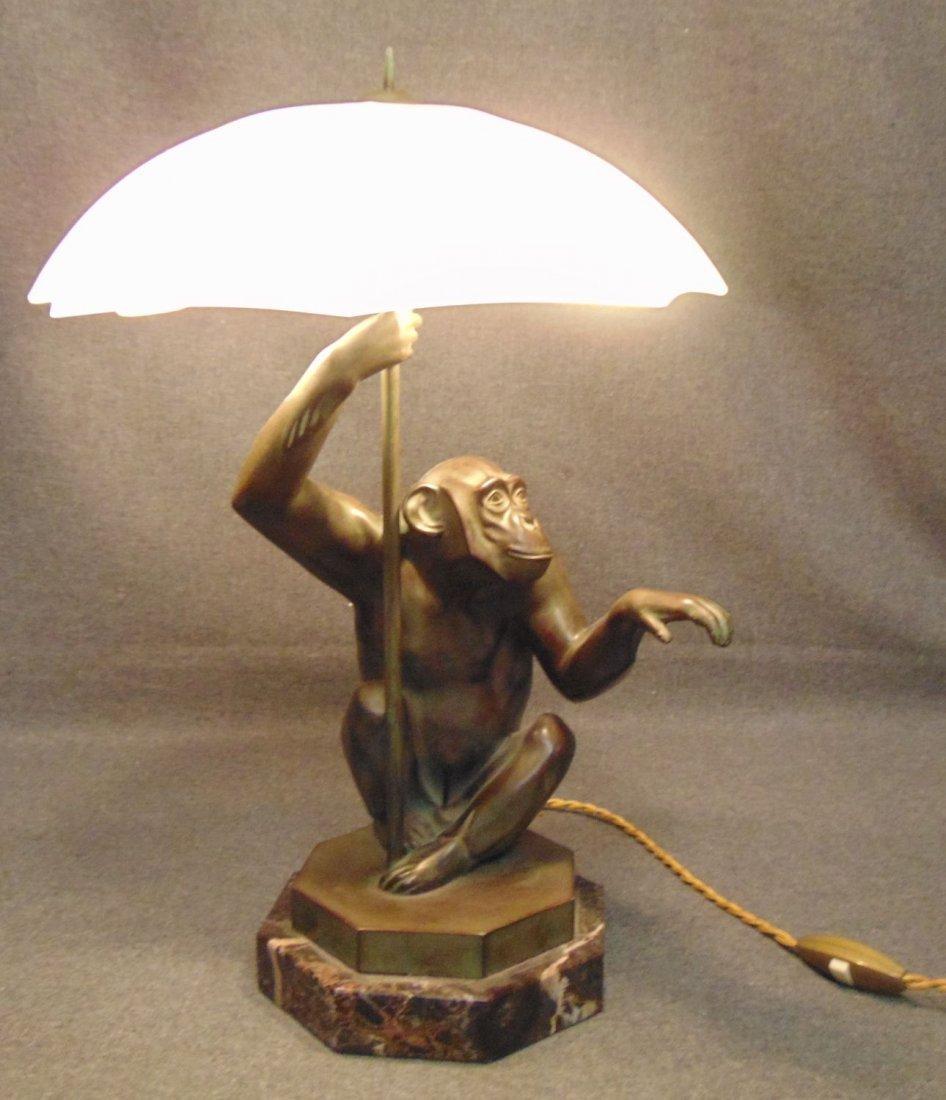 Fabulous Vintage Bronze Monkey Lamp by Max Le Verrier